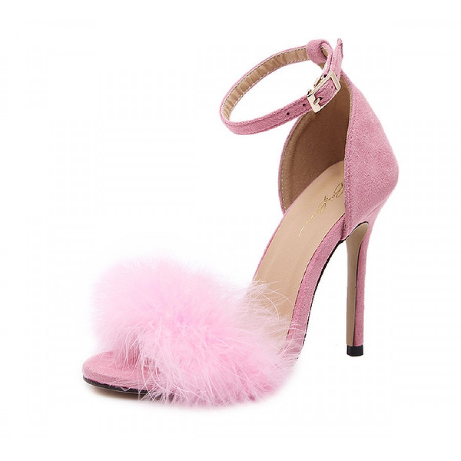 Pink Suede Ankle Strap Faux Fur High Heel Sandals