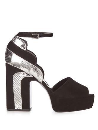 sandals platform sandals suede silver black shoes