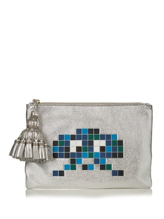 leather clutch space clutch leather silver bag