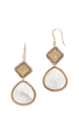 earrings gold white jewels