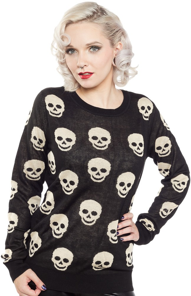 Skull sweater blk