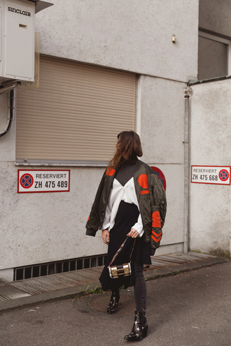 the fashion fraction blogger jacket shirt sweater skirt pants bag shoes bomber jacket green jacket ankle boots spring outfits