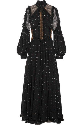 gown chiffon lace black silk dress