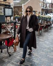 coat,wool coat,long coat,denim,jeans,loafers,handbag,sweater,sunglasses