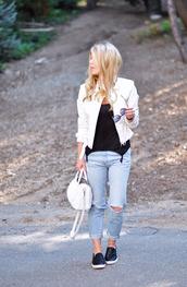 love maegan,jeans,jacket,sunglasses,shoes,bag