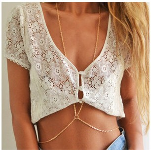 Min order is $10(mix order)Fashion women sexy gold body chain choker necklace belly belt chain jewelry women ST005-inChain Necklaces from Jewelry on Aliexpress.com