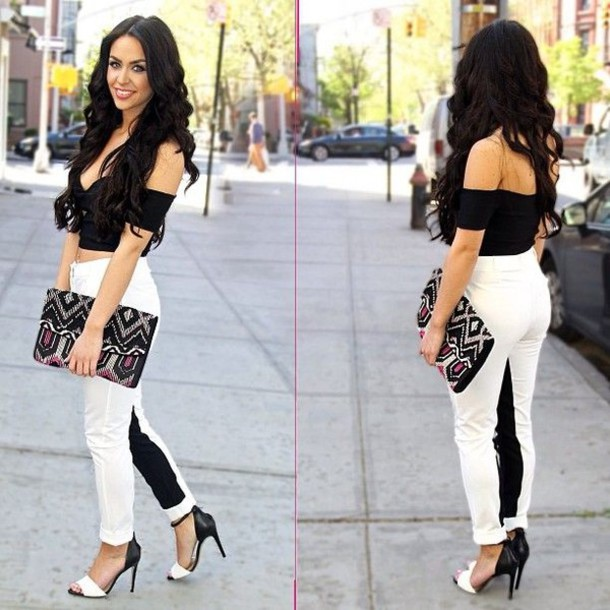 Pants: black and white pants, clothes, black crop top, black and ...