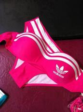 swimwear,adidas,pink,bikini,sexy,cute,bright,stripes,neon,neon pink,adidas neon,pink bikini,neon pink bikini,hot pink,style,underwear,top