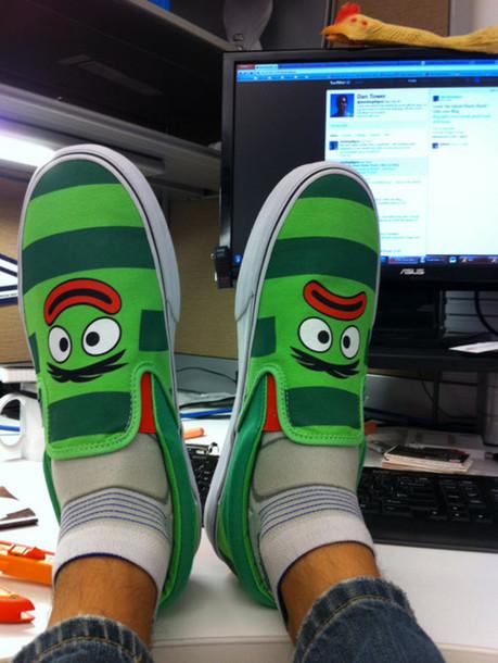 44800b473062 shoes yo gabba gabba vans red green stripes eyes lips unibrow