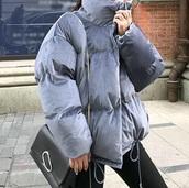 coat,girly,blue,oversized,puffer jacket,velvet,padded
