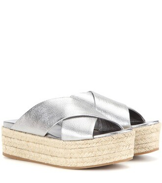 metallic sandals platform sandals leather silver shoes