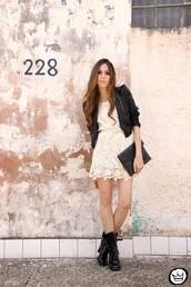 lace dress,white dress,black jacket,jacket,black,leather jacket