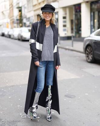 shoes tumblr boots knee high boots silver silver boots metallic denim jeans blue jeans sweater grey sweater coat black coat black long coat long coat