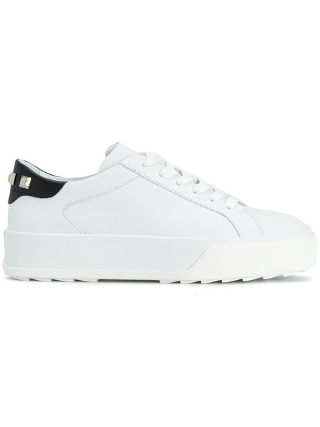 Hogan studded women sneakers leather white shoes