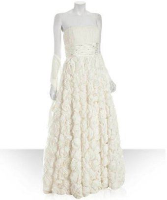 Alberto Makali ivory silk strapless rosette gown with shawl at Bluefly