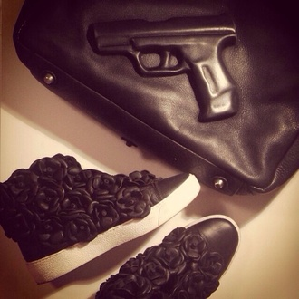 bag gun gun bag black shoes black leather givenchy funny gangsta roses basic