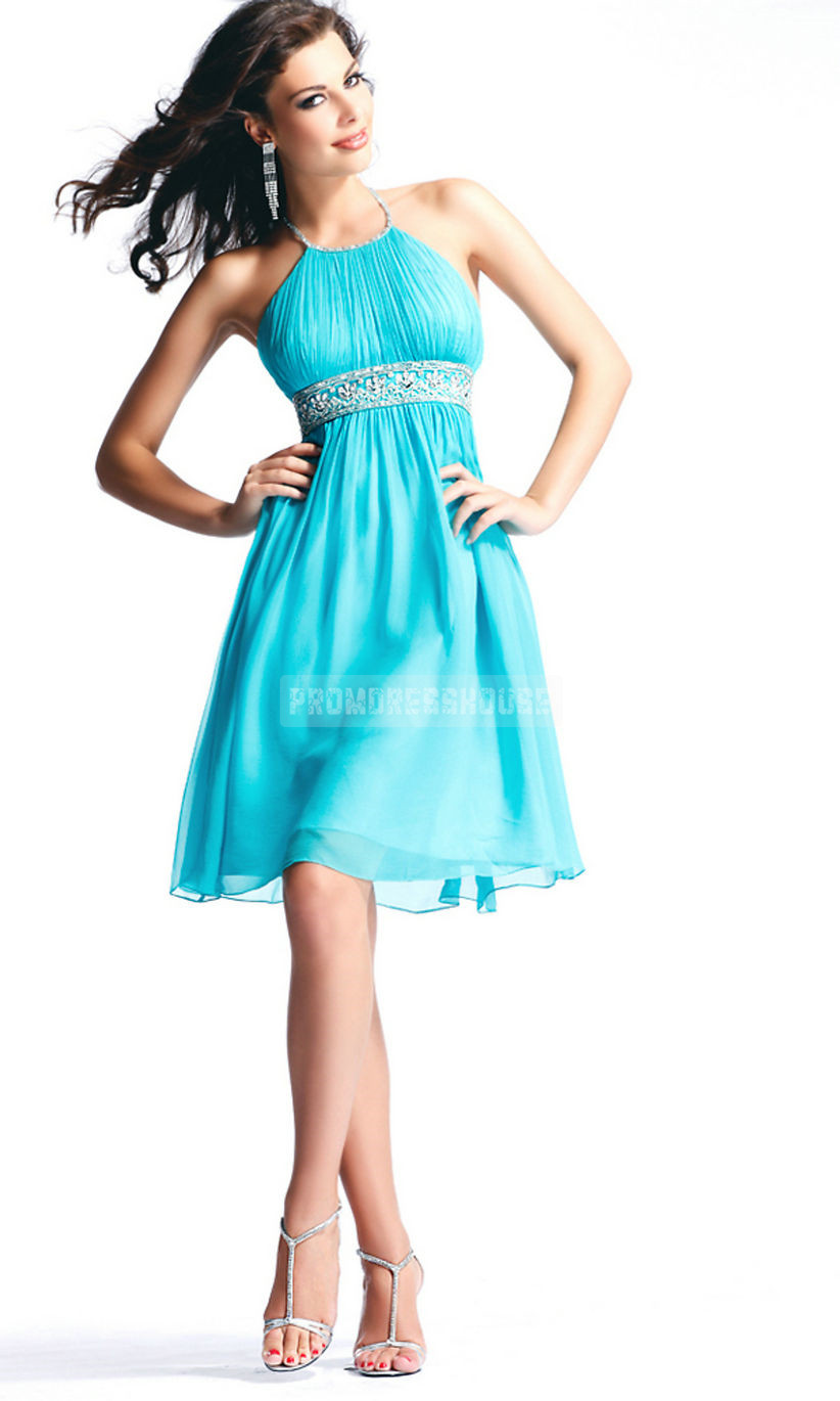A-line Organza Halter Keyhole Back Short Length Beading Cocktail Dress - Promdresshouse.com