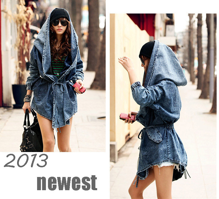 5bdc732bccf Surprised Cool Fashion Women Lady Denim Trench Coat Hoodie Hooded Outerwear Jean  plus large size punk ...
