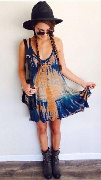 tie dye dress blue dress orange dress