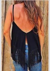 blouse,top,fringed black tank