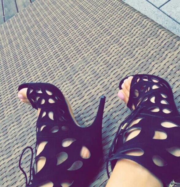 shoes cute black see through