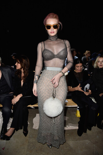see through fashion week 2016 iggy azalea bodycon maxi skirt sheer sunglasses purse grey bra mesh top furry pouch all grey everything long skirt