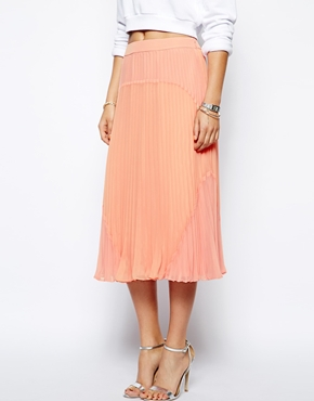 ASOS | ASOS Pleated Midi Skirt in Colourblock at ASOS