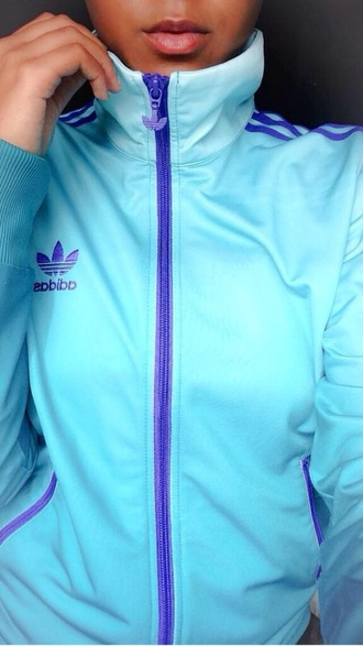 jacket adidas adidas varsity jacket teal purple zip up sportswear running jacket cute