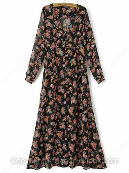 Black Long Sleeve Flowers Print Dress - HandpickLook.com
