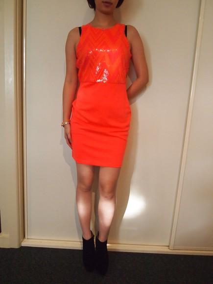 sparkle orange party party dress cool