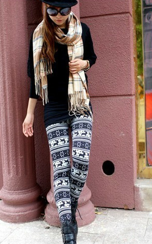 Fashion womens snowflake reindeer knitted warm leggings tight winter pants