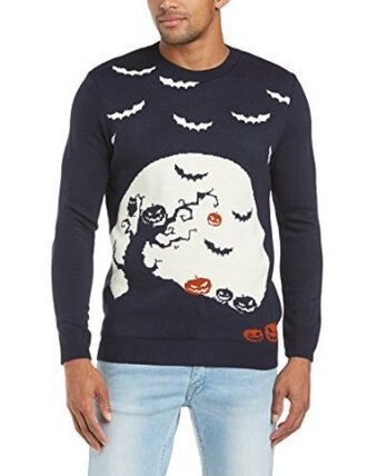 sweater halloween jumper fall outfits spoopy spooky blue navy bats pumpkins creepy scary