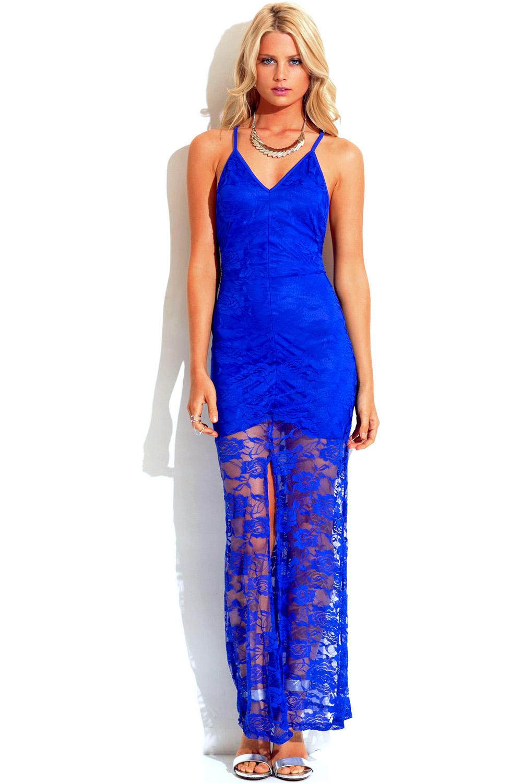 Shop white lace overlay sleeveless deep v neck high slit