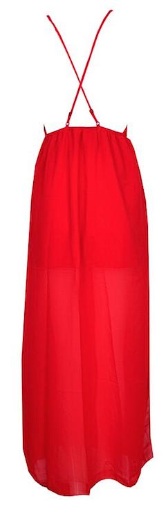 Chantelle Toga Semi Sheer Deep V-Neck Slit Backless Sexy Maxi Dress