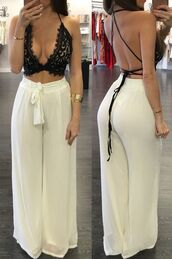pants,loose pants,loose,white,tied,bow