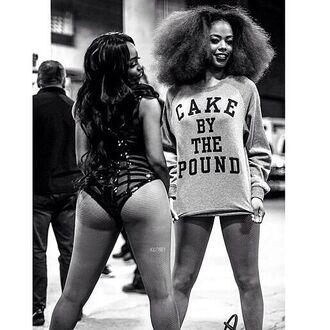 beyoncé cake long sleeves quote on it cute top booty sweater beyoncé shirt beyonce fashion curly hair grey t-shirt tights african american black girls killin it crewneck belt coat dope