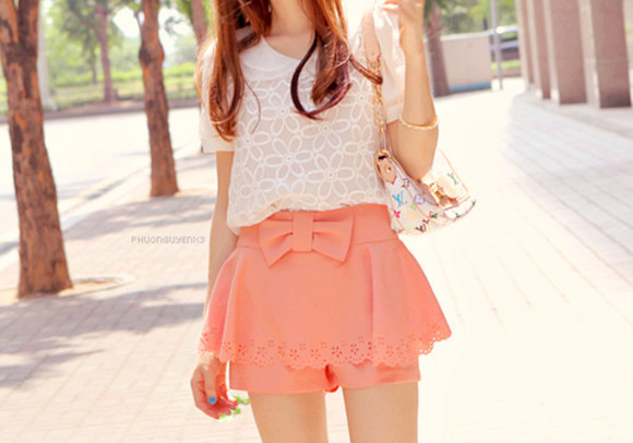 pink pastel spring girly bow short bows cute summer shorts peach salmon high waisted short