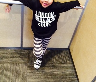 top girl girly black white pants style stripes striped leggings baby fashion cute top long sleeves shoes leggings