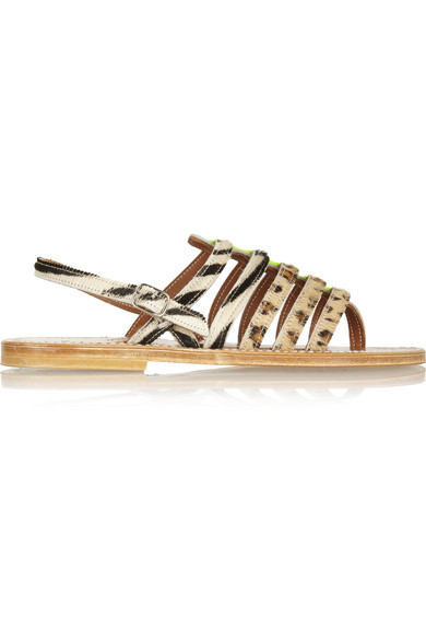 K Jacques St Tropez | Calf hair and neon patent-leather sandals | NET-A-PORTER.COM