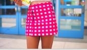 skirt,iggy azalea,plaid skirt,pink,white,fluffy,tweed skirt,tweed,desperate housewives