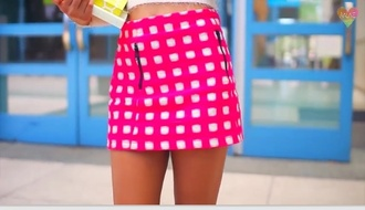 skirt iggy azalea plaid skirt pink white fluffy tweed skirt tweed desperate housewives