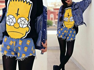 shorts high waisted shorts outfit the simpsons shirt cute outfits leggings denim jacket jeans round sunglasses cute shoes denim shorts