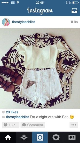 top white crop tops crop tops jacket kimono monochrome leaf print