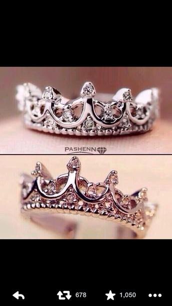 jewels crown ring silver ring diamond rings pashenn ring anillo en forma de corona ring silver crown