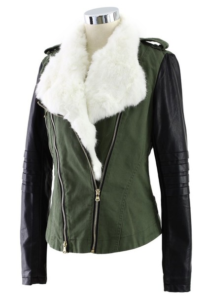 White leather jacket with fur – Modern fashion jacket photo blog