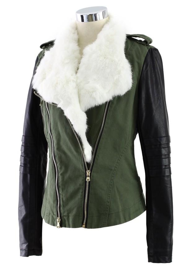 Coat: leather jacket, jacket, faux fur, faux fur jacket, fur, faux ...