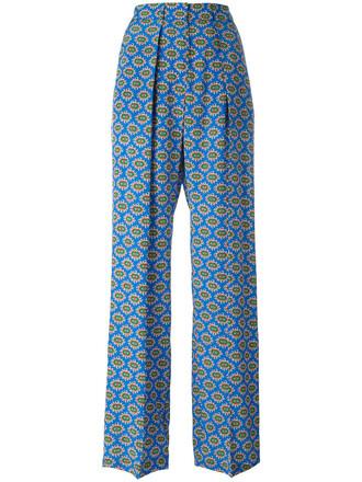 pants palazzo pants women print blue silk