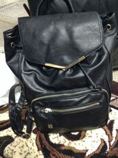 bag,backpack,drawstring,accent,school bag,faux,black,leather,rucksack