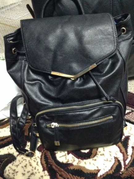backpack bag black drawstring accent school bag faux leather rucksack