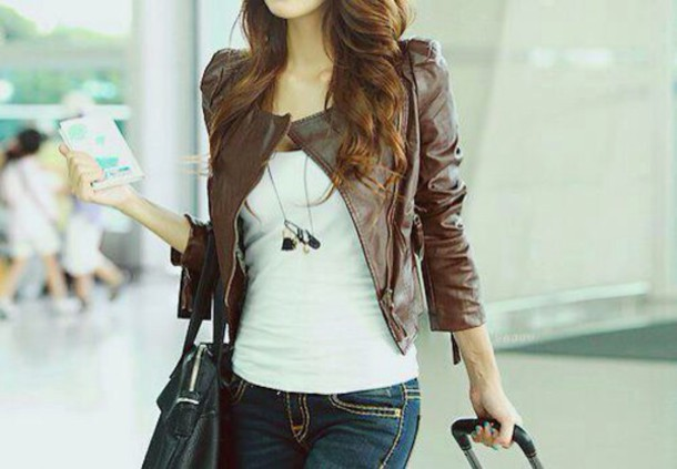 Jacket: leather, brown, travel, fall outfits, winter outfits ...